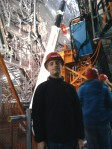 Me next to the detector giving an idea of how giant it really is.